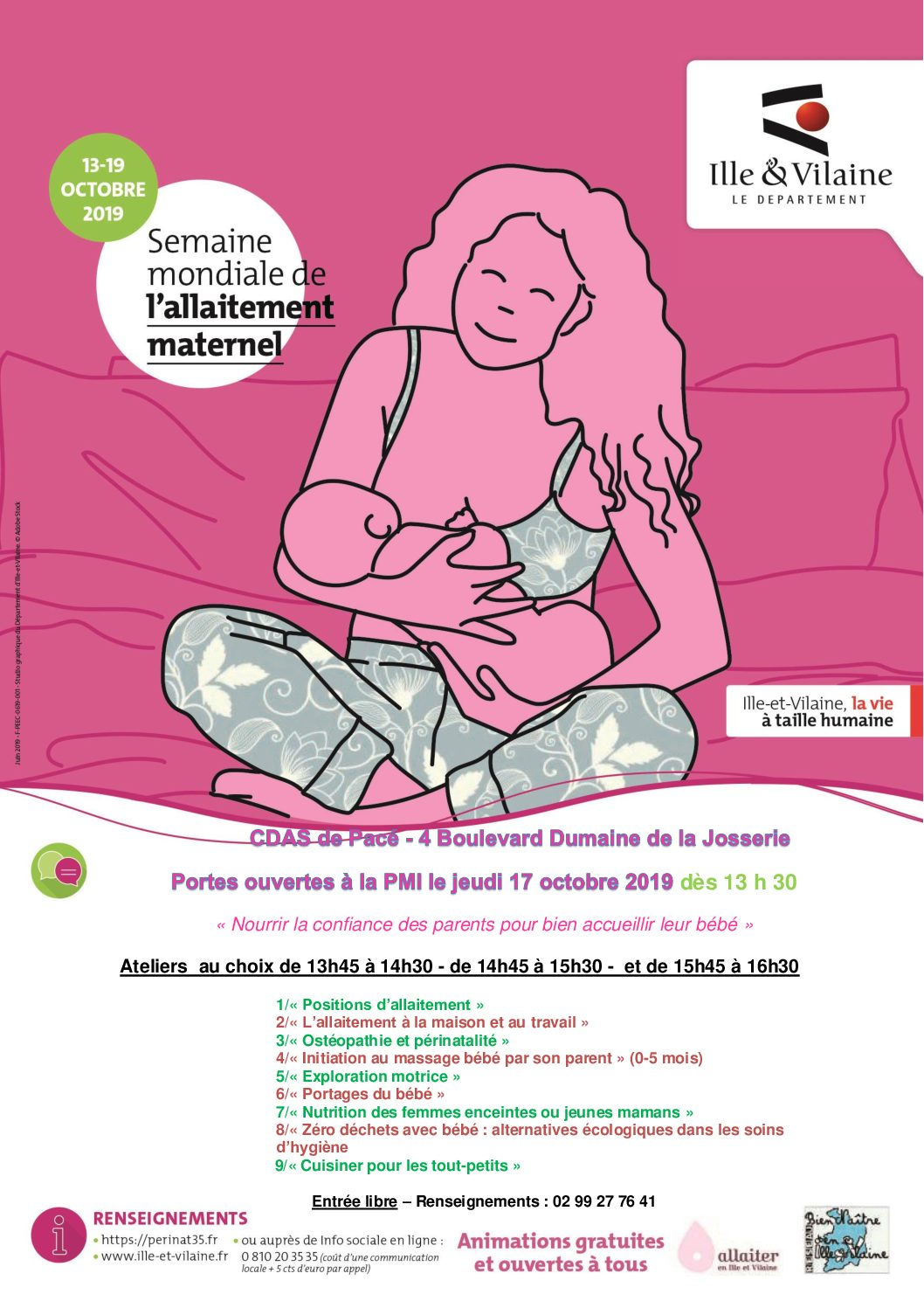 Semaine Mondiale de l'Allaitement Maternel : Rendez-vous le jeudi 17 octobre à la PMI de Pacé pour découvrir l'atelier massage bébé